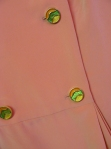 Coral silk dress button detail